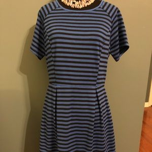Pixley cotton blue and black striped dress